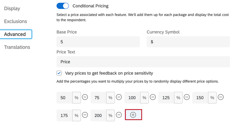 the plus sign for adding additional multipliers to your varied prices