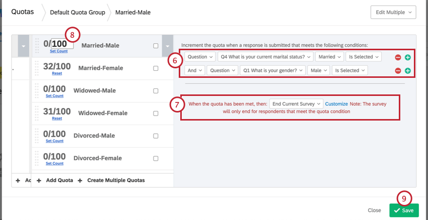 Right side of page, conditions built out that say things like, if the respondent said they were married and male. Below that, a dropdown for slecting what happens if they meet that condition. To the left, can edit the number of people you want to meet this condition. Bottom-right, save button