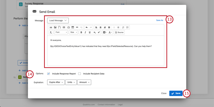 Scroll down inside send email window. Theres a field for the message with a rich content editor along top. Top left, button for adding library messages. Top-right, button for saving to library