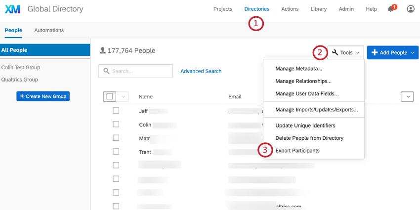 the directory tools menu. export participants is selected