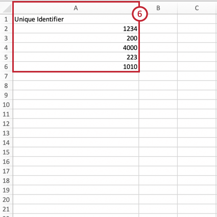 a csv file with a column for unique identifier