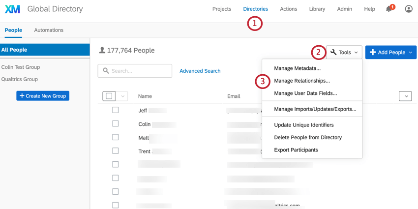 the directory tools menu. manage relationships is selected