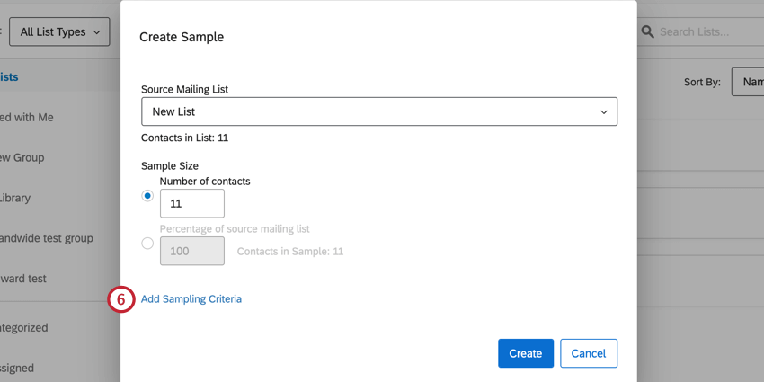 the add sampling criteria button
