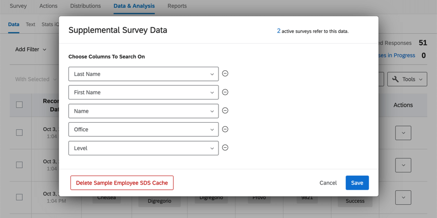 Supplemental survey data window, with options specified