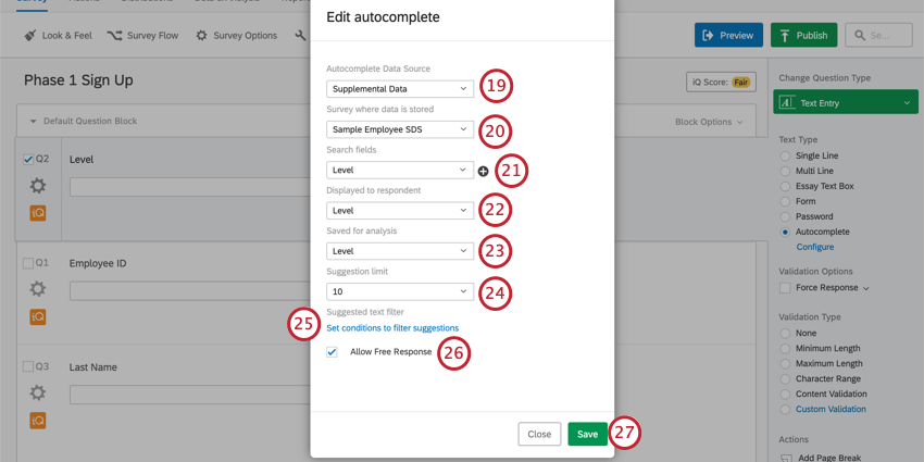 Autocomplete set to supplemental data, fields filled in as described in steps