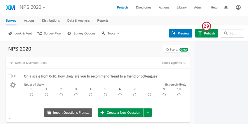 Once you leave survey flow and return to survey editor, publish button in upper-right