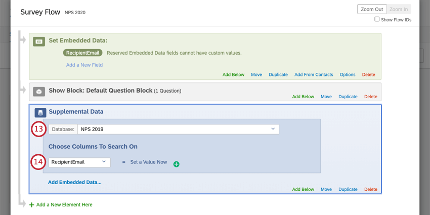 Customizing survey flow as described