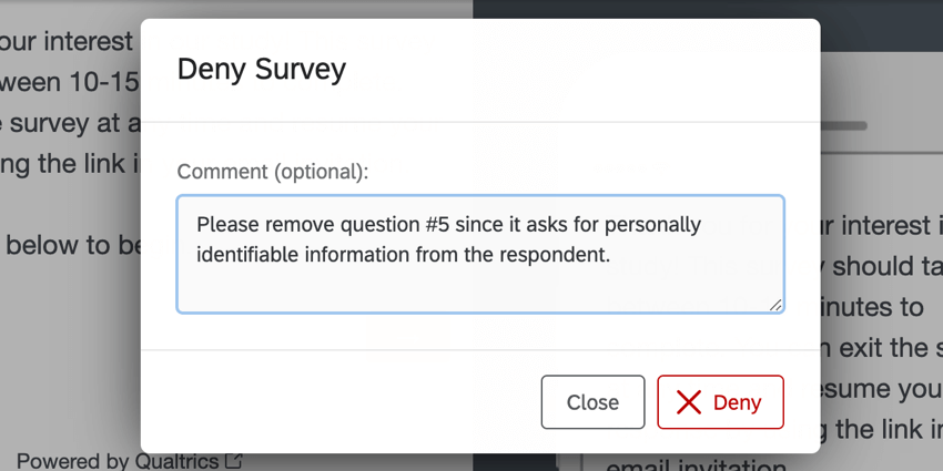 the comment pop-up when denying a survey