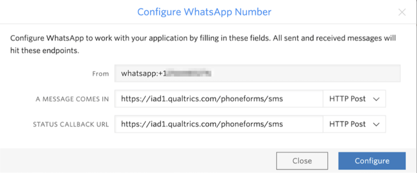 "Window that says ""Configure whatsapp number"" and has the fields described"