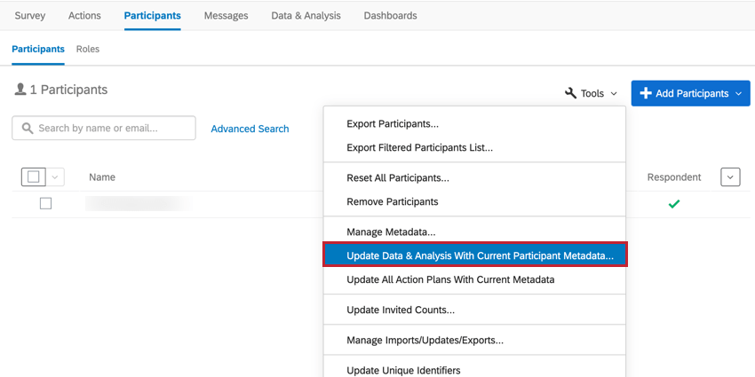 the update data & analysis with current participant metadata option in the participant tools menu