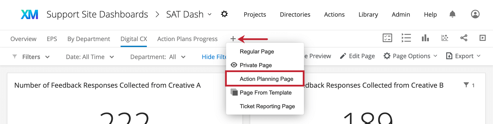 Using new page button, top or left of dashboard. One of the options is action planning page.