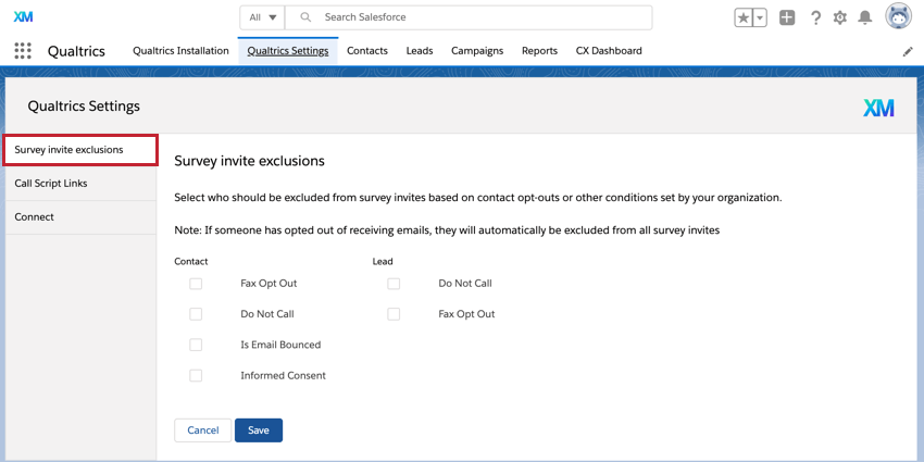 the survey invite exclusions tab of the qualtrics salesforce app
