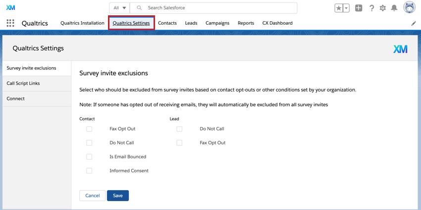 the qualtrics settings tab