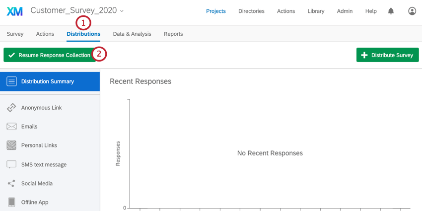 the resume response collection button is at the top of the distributions tab