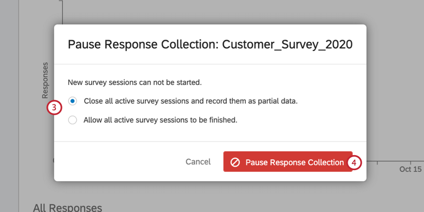 the pause response collection screen where you determine what to do with open survey sessions