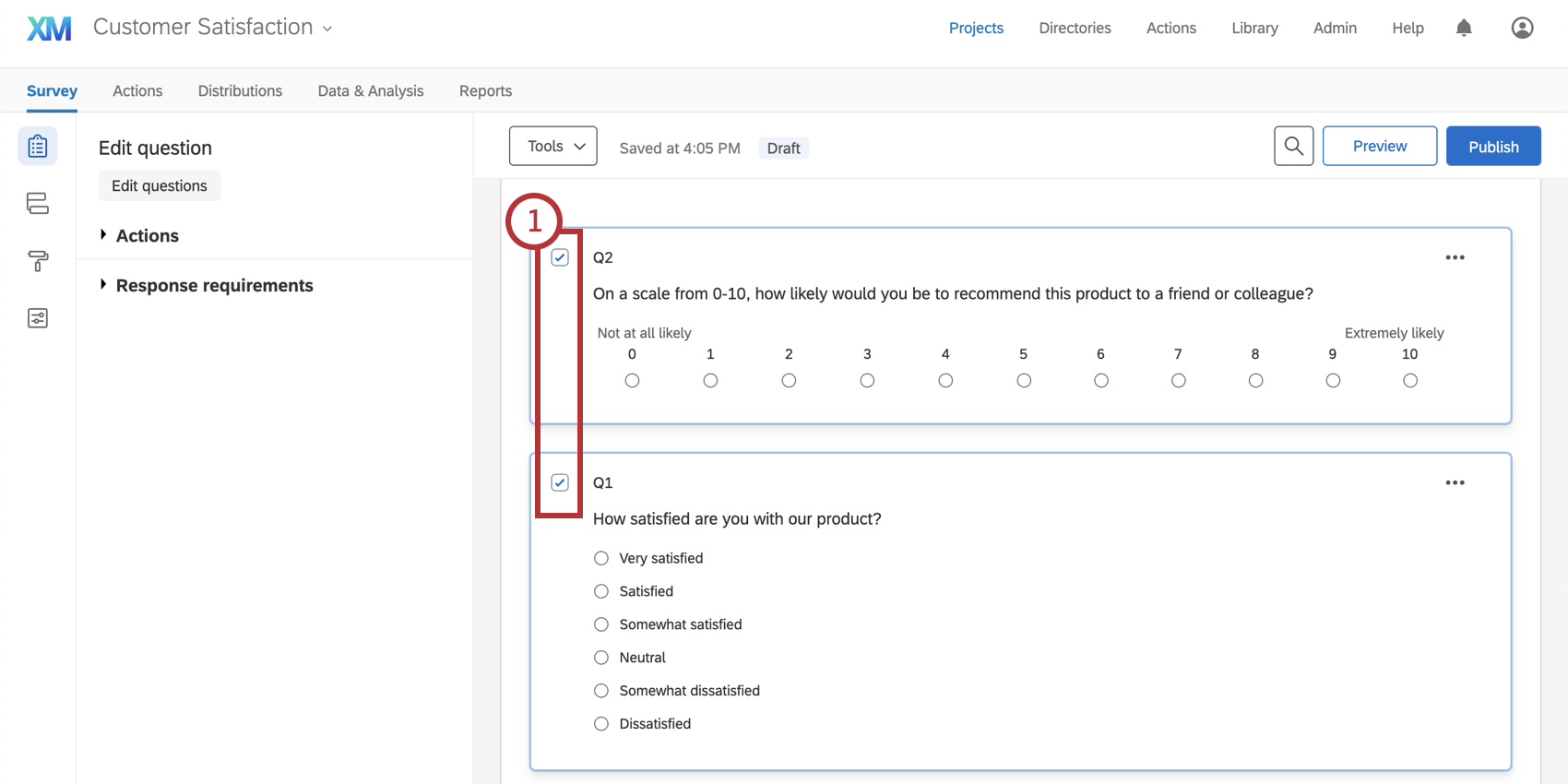 Selecting multiple questions