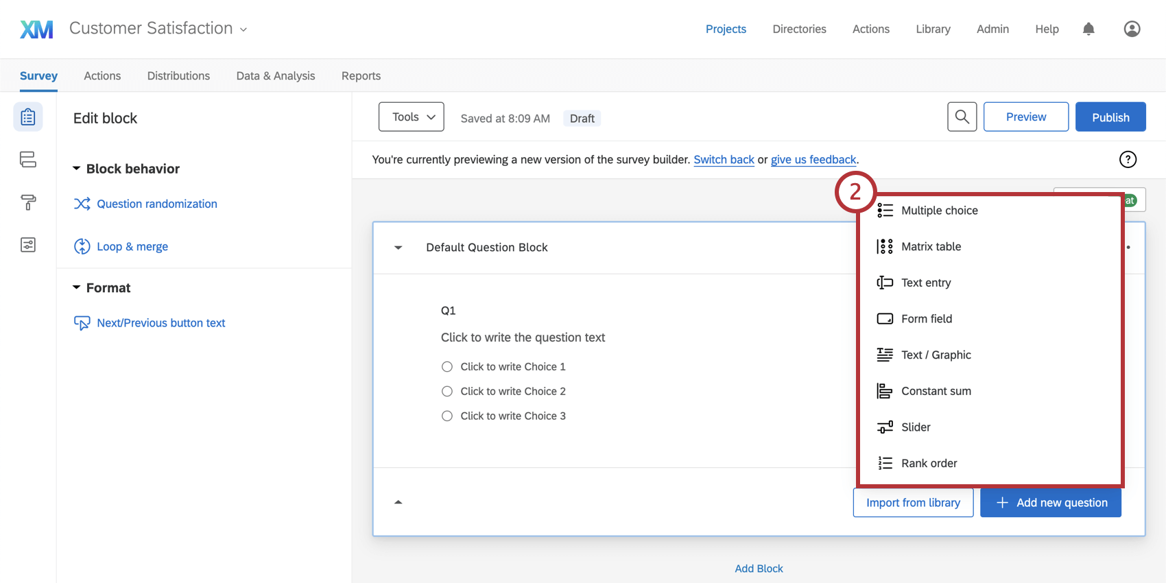 Menu expands from button showing a list of question types