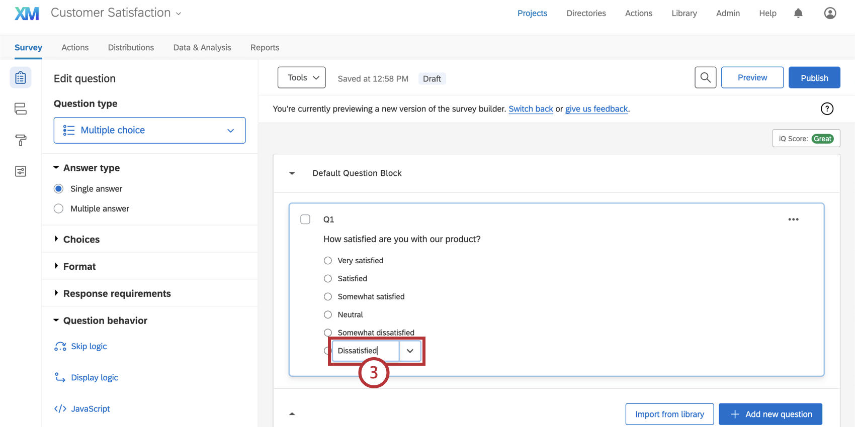 Answer choice selected, dropdown next to it