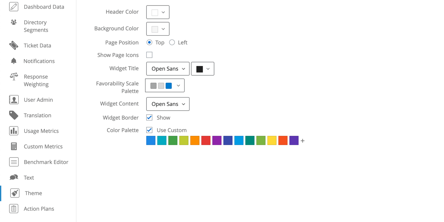 Picture of theme settings