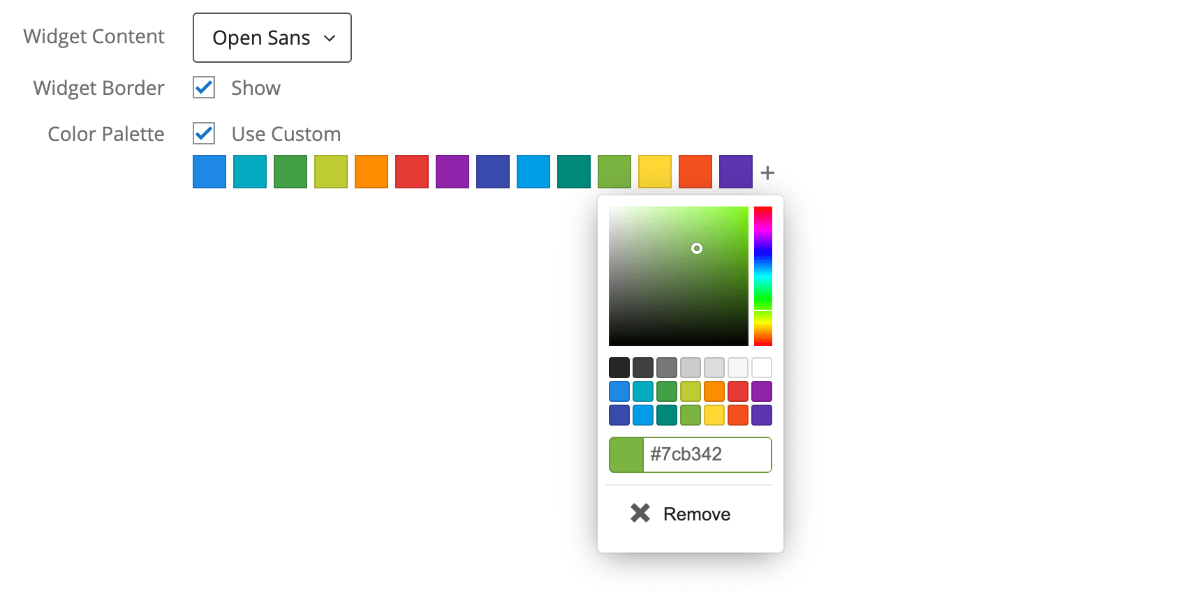Palette color expanded with Remove option indicated