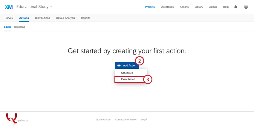 Adding an Action and selecting Event-based