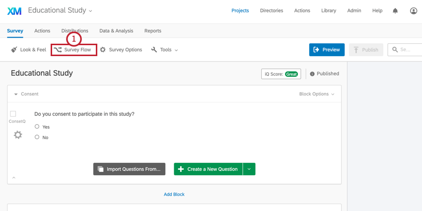the survey flow button in the survey editor