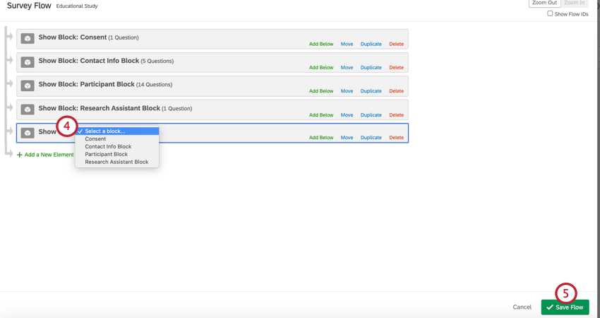 using the dropdown menu to select a block when adding a block to the survey flow