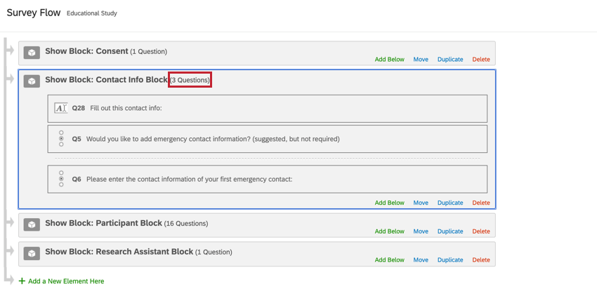 a block is expanded in the survey flow by clicking the number of questions in the block