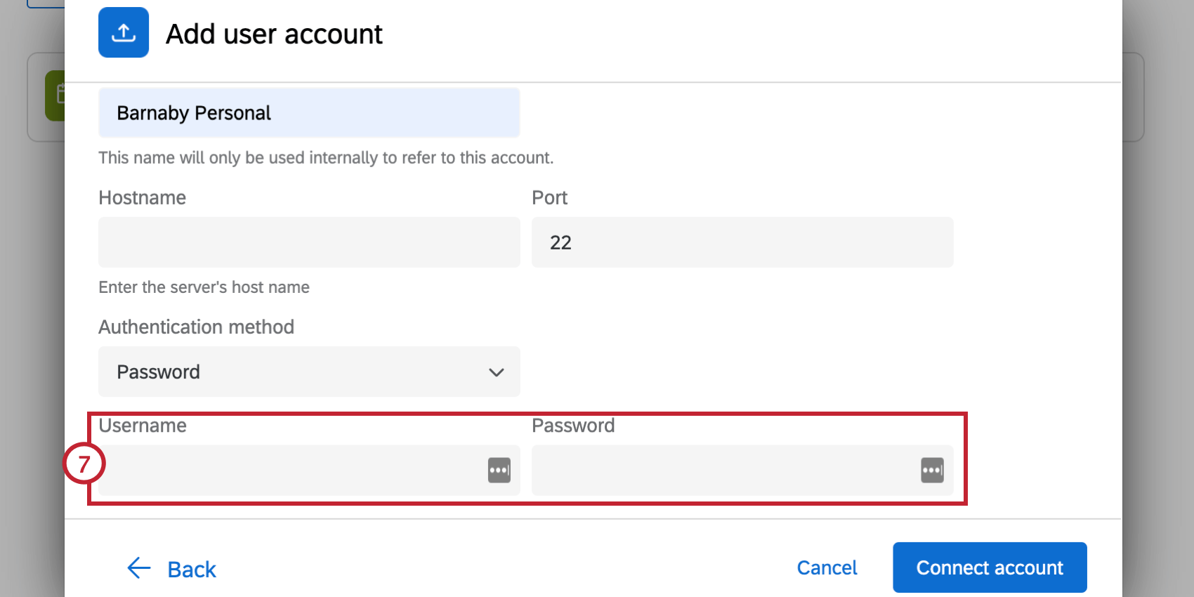 entering a username and password
