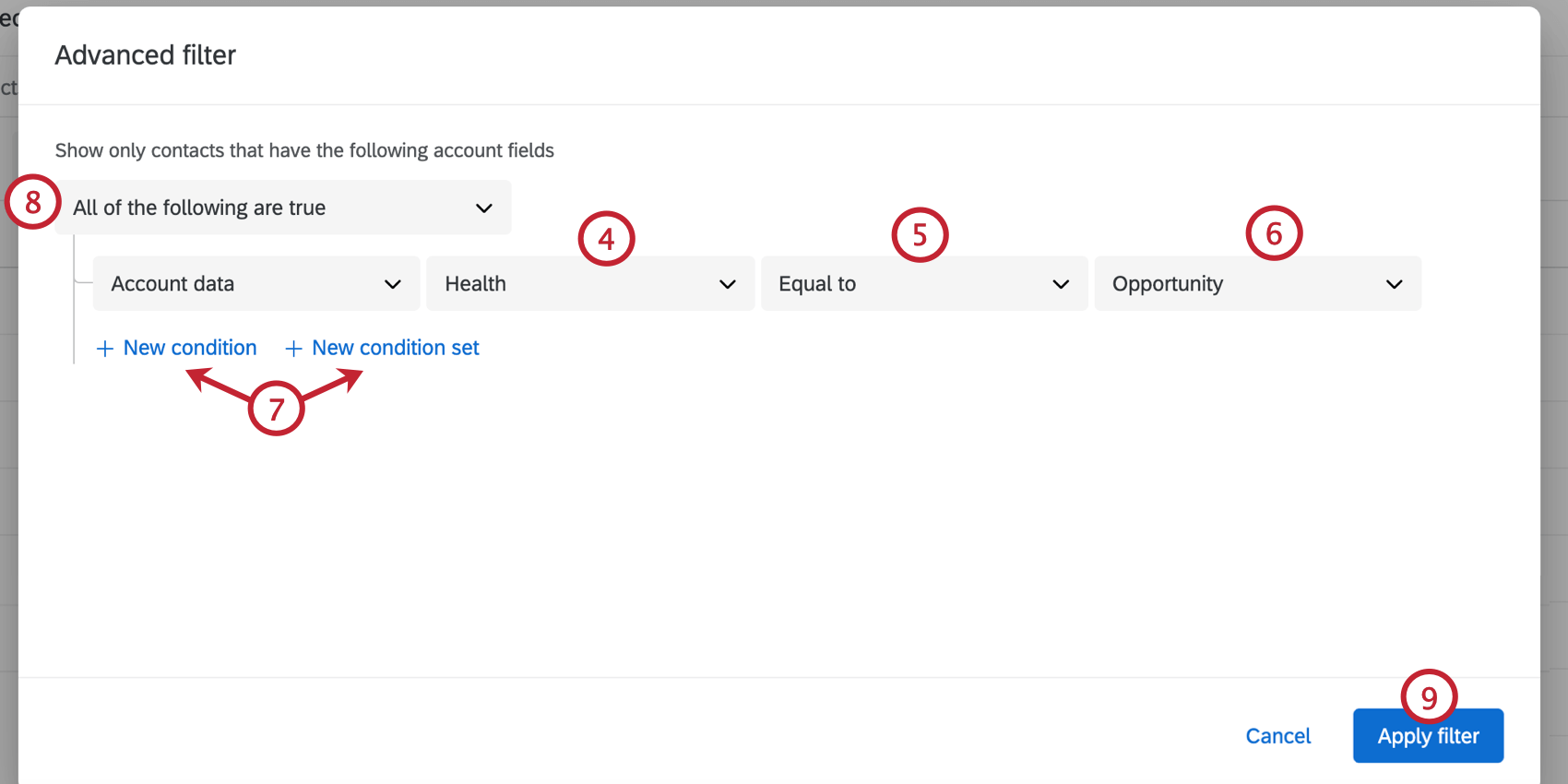creating the account condition and clicking apply filter in the bottom right
