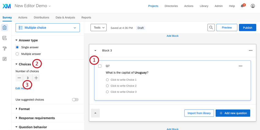 Adding choices to a question
