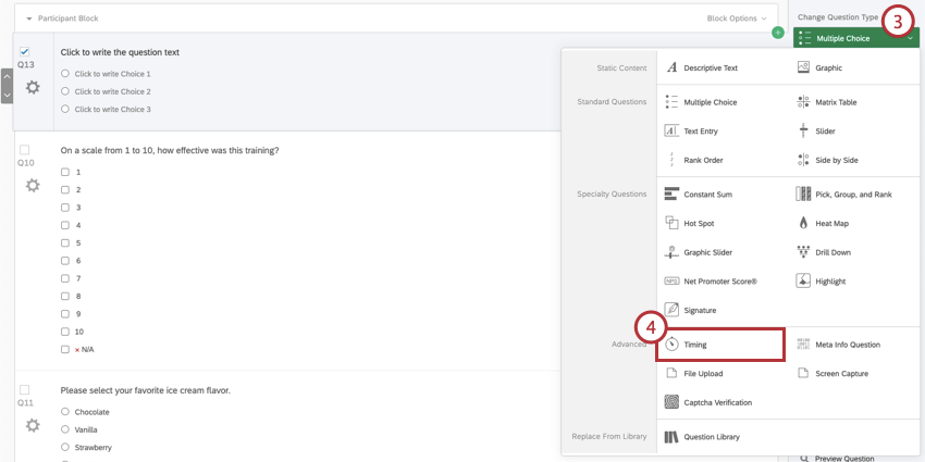 Change Question Type and Timing question selected