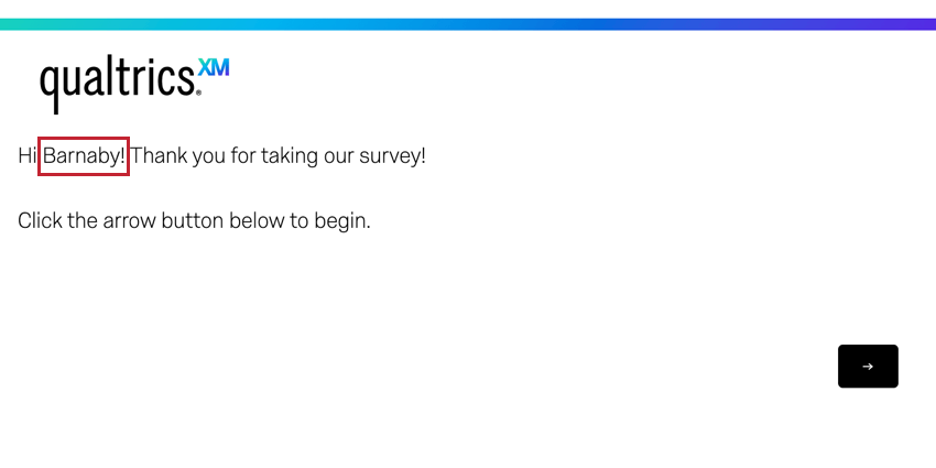 the respondents name displays when they take the survey