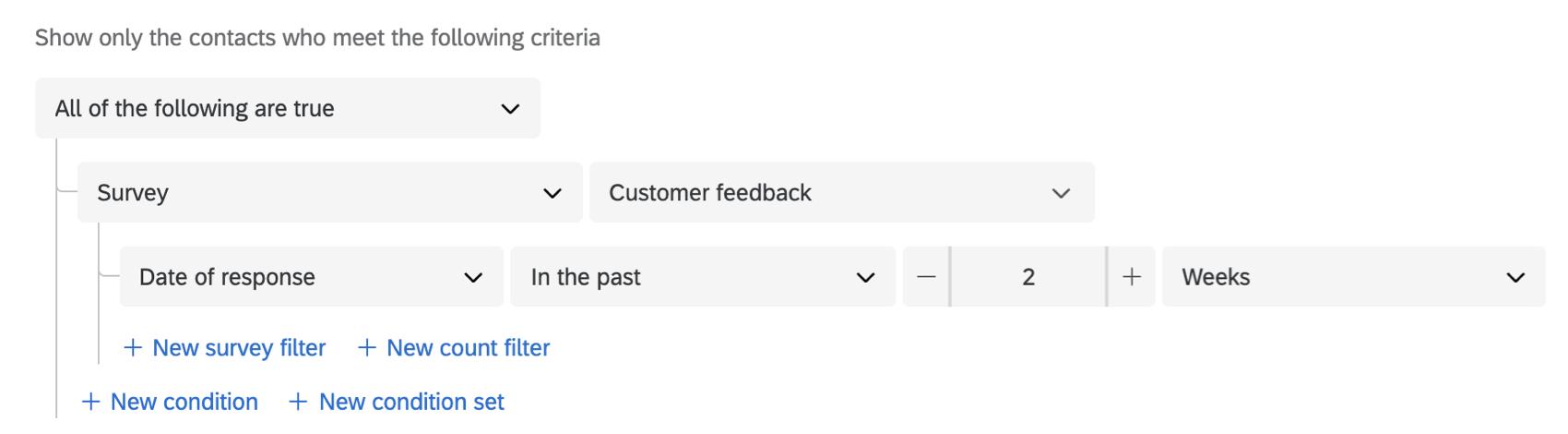 setting segment criteria based on a survey response date