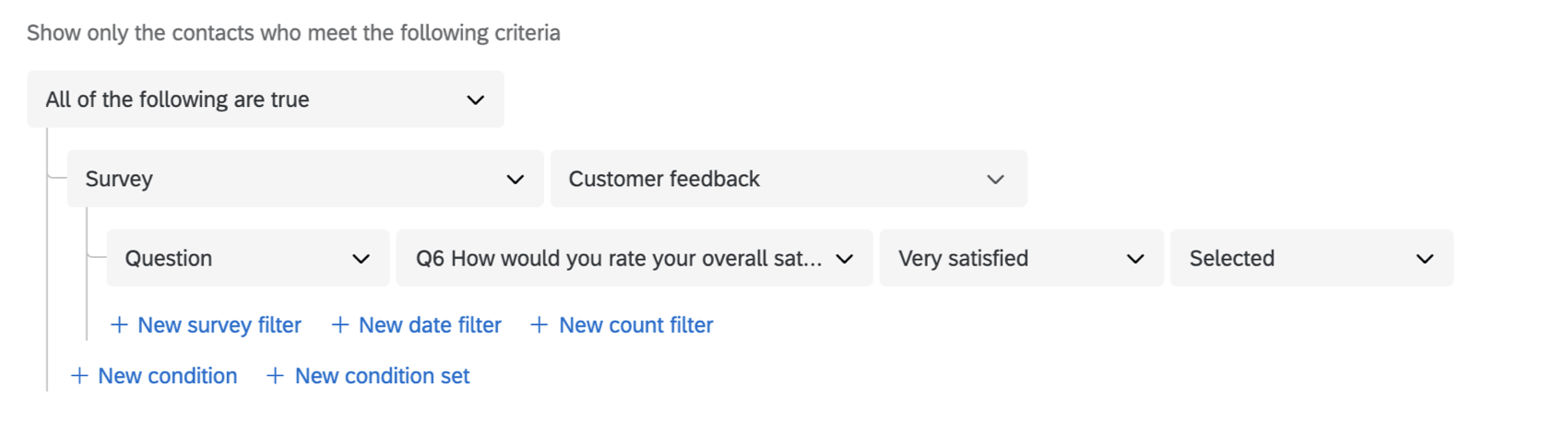 setting segment criteria based on a survey question