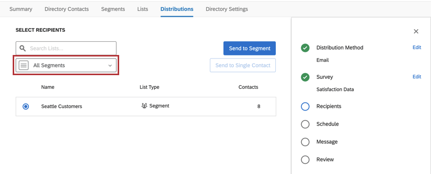Distributions tab; distributing, segments is in the dropdown for recipient types, along with lists and samples