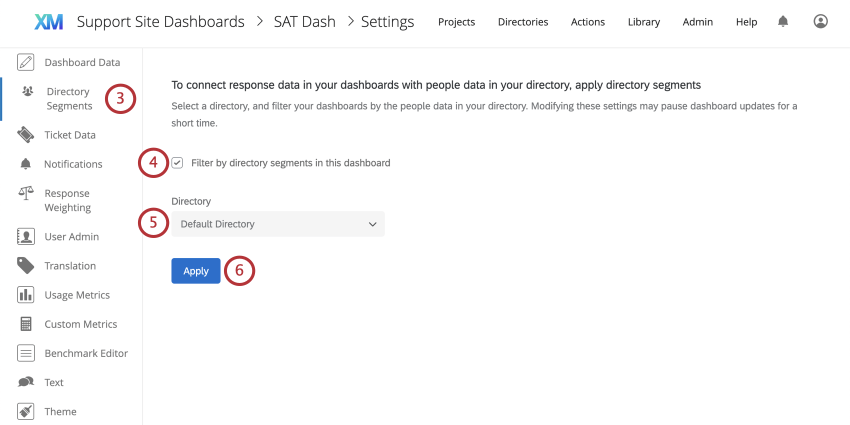 Directory segments section of the dashboard settings