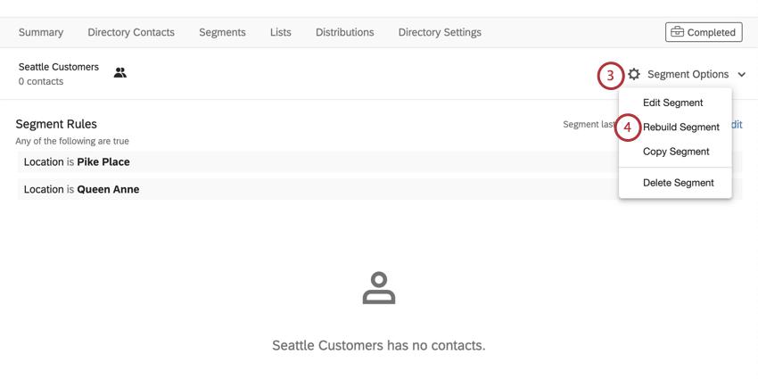 "Once inside segment, ""segment options"" button"