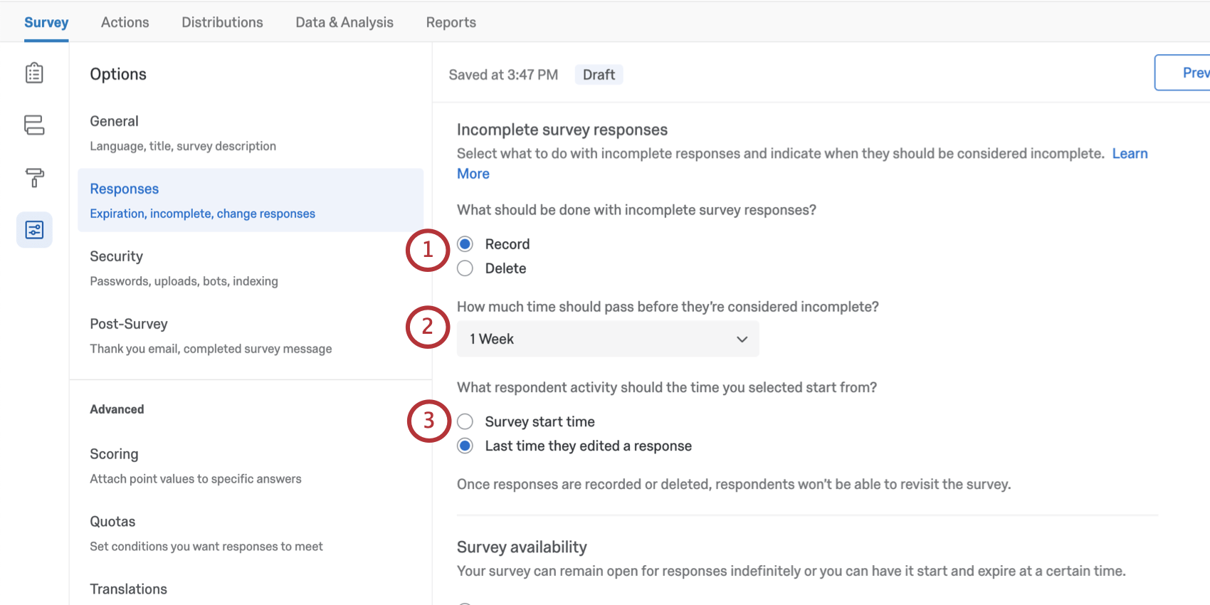 Incomplete survey responses isn't just a toggle, but has several options to configure, described below