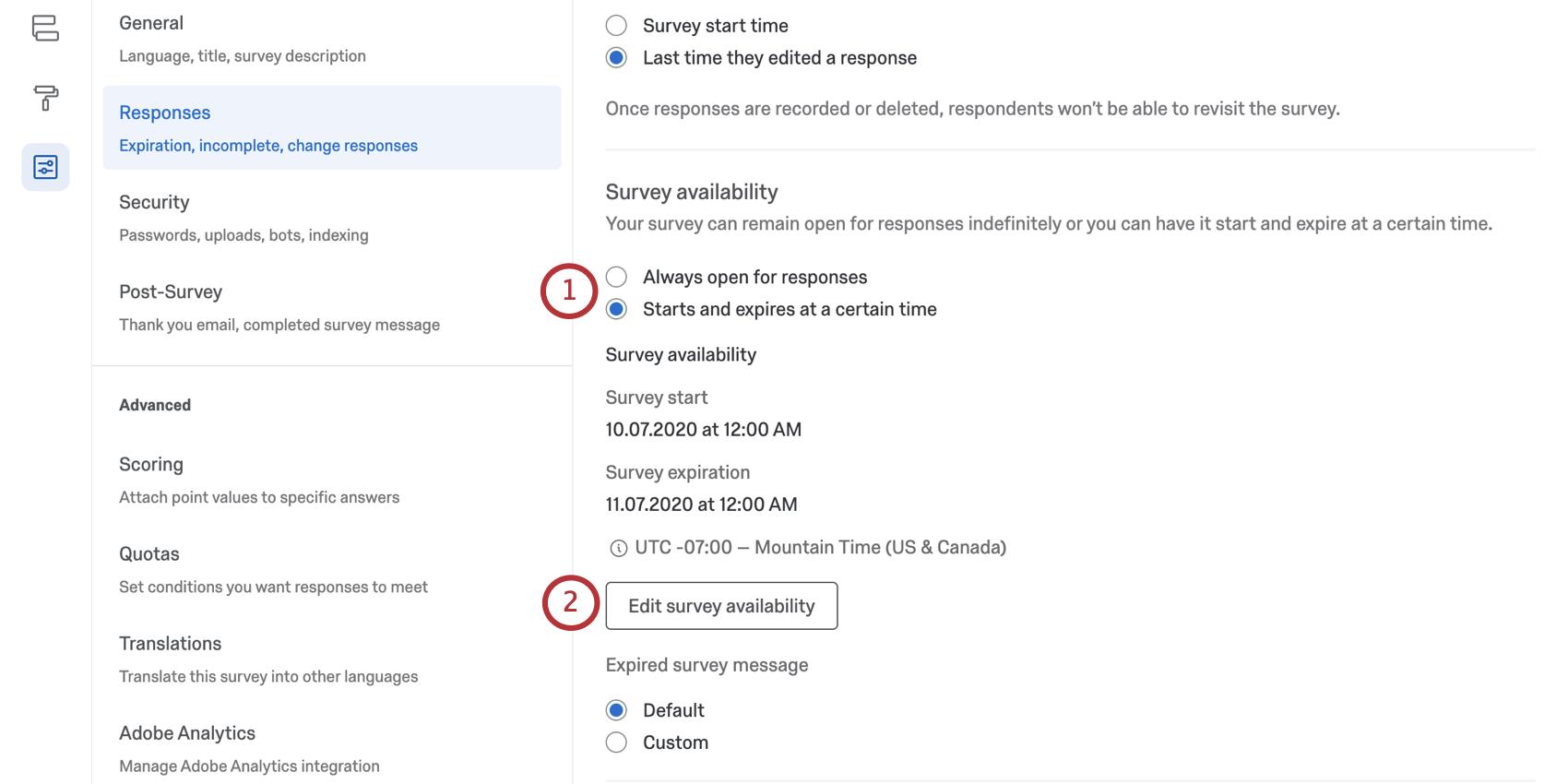Survey availability settings