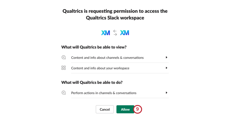 allowing qualtrics and slack to connect