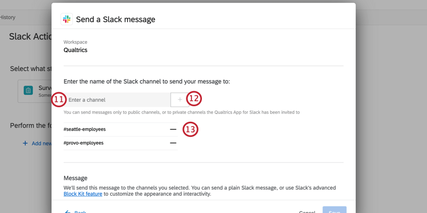 choosing the channels to receive the slack message