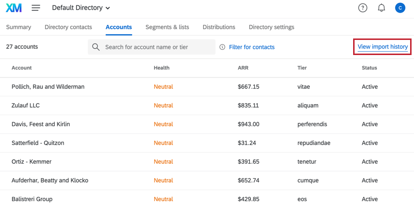 the view import history button located in the top right corner of the accounts tab