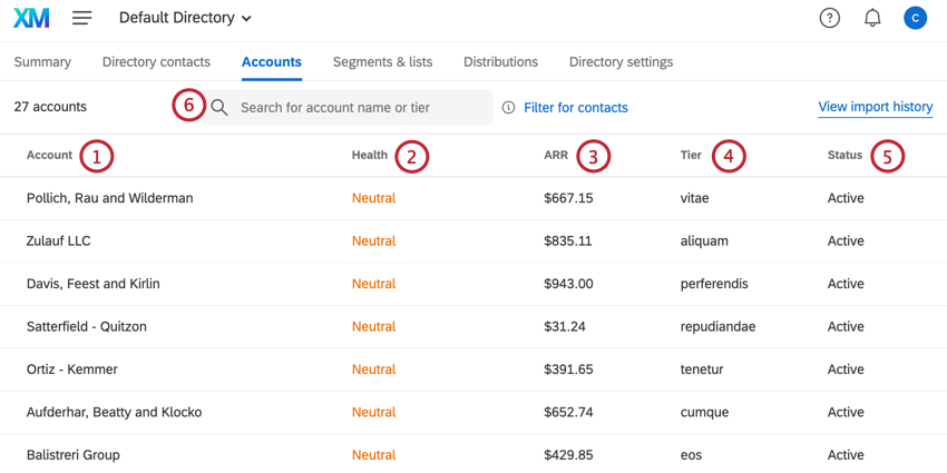 the search bar is located at the top of the accounts tab