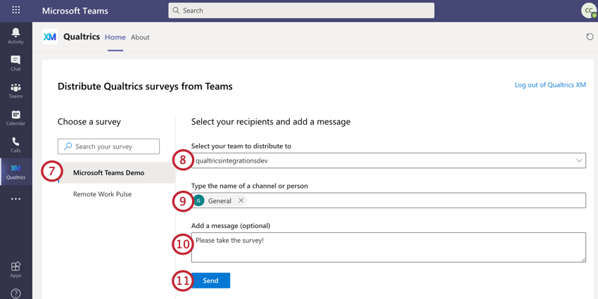 choosing a survey, team, channel, and message for sending a survey in teams