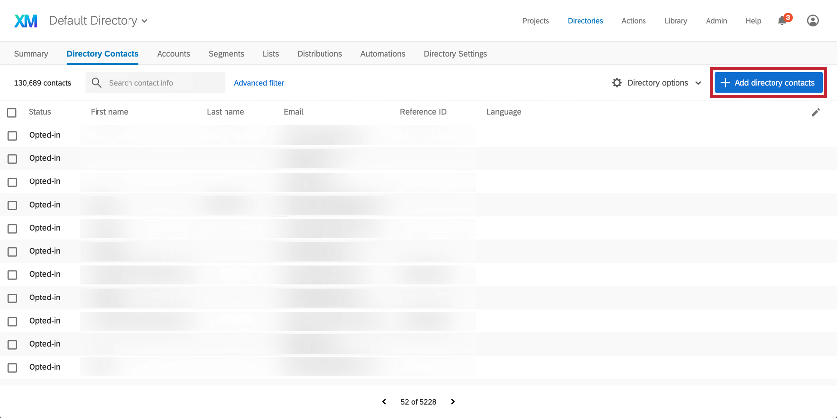 Add contacts to the directory button in the top right