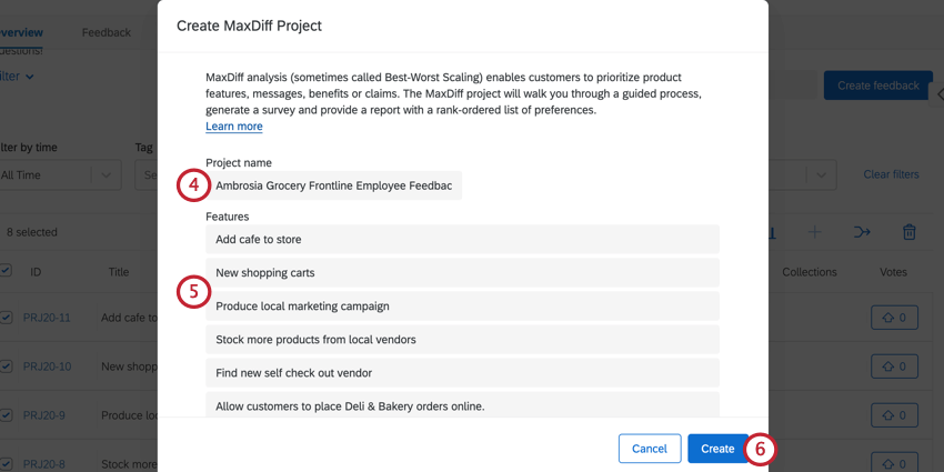creating a maxdiff project. the project name and features are defined