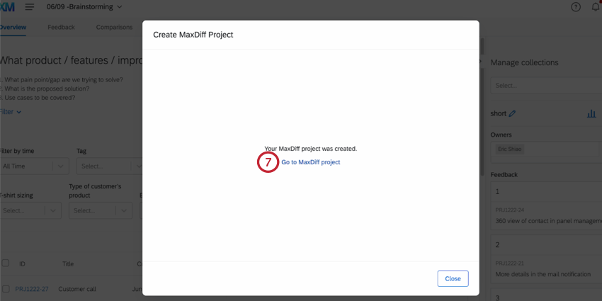 the go to maxdiff project button after creating the project