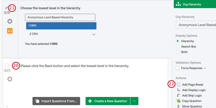 adding a page break between the two questions