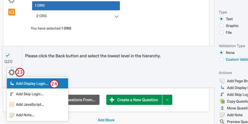 the add display logic option